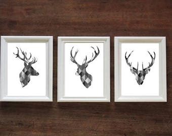 Geometric Black and White Monochrome Stag Head Set of 3 | Stags / Deer | PRINT