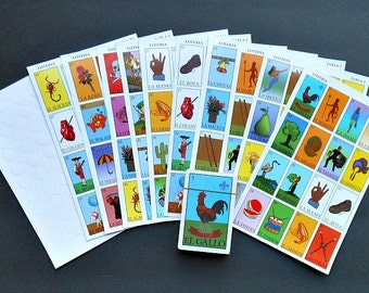Mexican Bingo-type Game of LOTERIA- Includes CARDS and Markers- Mexican folk art Day of the Dead Dia de los Muertos Loteria Fortune telling