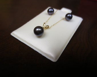 Black Pearl 14K Diamond Jewelry Set Stud Earrings Charm Necklace Chain