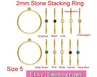 14K Yellow Gold Filled Stacking Ring W/2mm Stone US Size 5  Wholesale Jewelry Findings 1/20 14kt GF