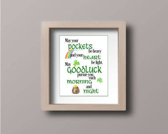 Wall art - St. Patrick's Day - Irish Saying - May Your Pockets Be Heavy