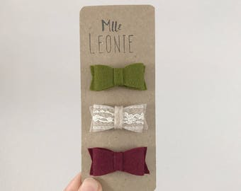 Trio earring in wool on hair clip - baby girl and child - olive, beige and lace, Burgundy