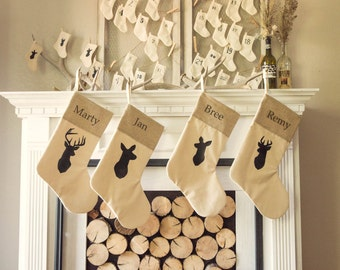 Personalized Rustic Chic Deer Family Stockings - Set of 4 silhouette Deer family Rustic christmas Antler Neutral Stocking