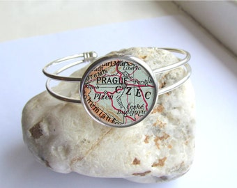 Map Bracelet, Map Jewelry, Custom Map Bracelet With Location Of Your Choice