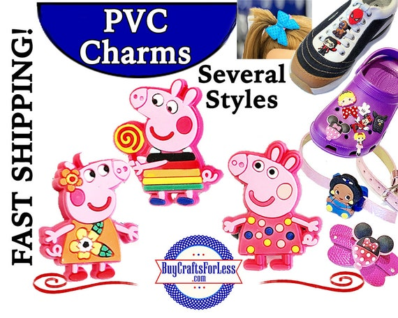PVC Charms, PEPPA PiG * 20% OFF Any 4 PvC Charms * 1.99 Shipping *For Shoes, Hair, Pins-Choose back-Button, Pin, Slider, Hair Clip, Velcro