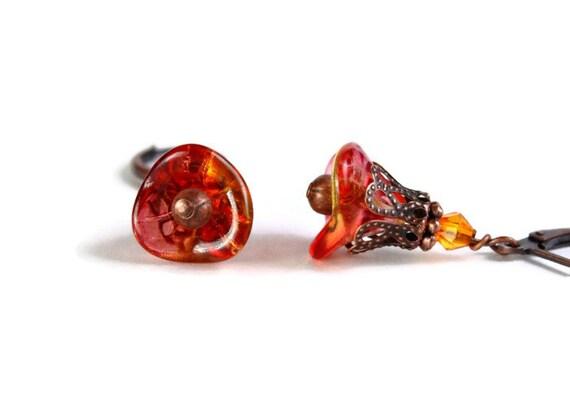Fuchsia lemon bell flower earrings (287)
