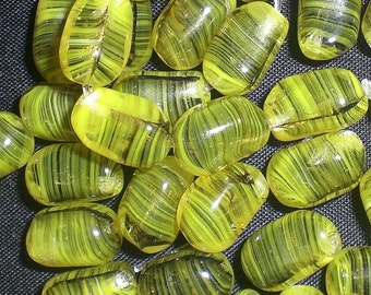 Vintage Chartreuse with Black Striations Glass Jelly Bean Beads