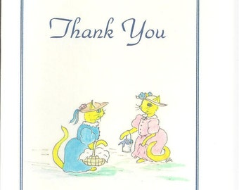 """Note cards -Yellow lady cats """"Thank You"""" card"""