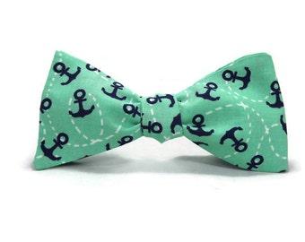 Anchor bowtie, Mint green, Navy blue, Nautical bowtie, mens bowtie, bow tie, sailor bowtie, nautical mens, nautical accessory, anchors away