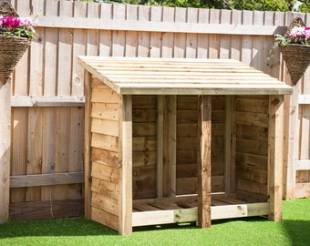 Heavy Duty 4 FT Double Bay Log Store With Various Options