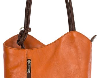 LiaTalia Womens Soft Lush Italian Leather Piping Detail Shoulder Backpack Bag - Libby (Orange with Brown Trim)