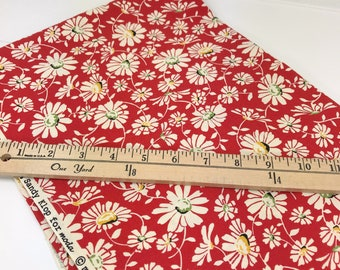 Red Daisy Fabric, Wee Play, American Jane, Moda, Sandy Klop, **PRE-WASHED**, 28 Inches