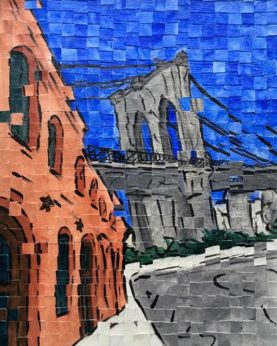"Brooklyn- New York City- Brooklyn Bridge- DUMBO Architectural Art 11""x14"" original painting"