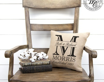 monogram pillow, monogrammed pillow, fixerupper style, magnolia farms, gift for her, wedding gifts, bridesmaids gift, wedding gift, burlap