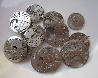 12 Vintage Watches, Rhodium Plate, No Moveable Parts, Mixed Lot, 19mm to 27mm Round