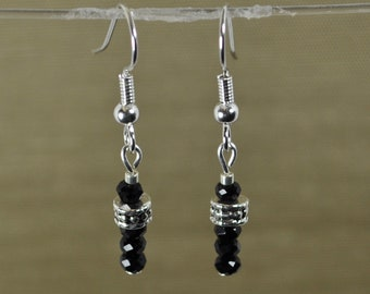A Little Sophistication, Jet Black Swarovski Crystal with Silver earrings