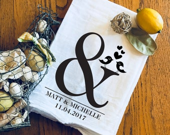 Dish Towel / Tea Towel / Mr & Mrs / Kitchen Decor / Housewarming Gift / Wedding Gift / Engagement Gift / Flour Sack Towel / Personalized