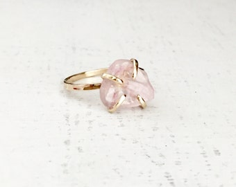 Rose Quartz Ring, Rose Quartz Engagement Ring, Gold Ring, Rose Gold Ring, Rose Quartz Jewelry, Anniversary Ring, Promise Ring