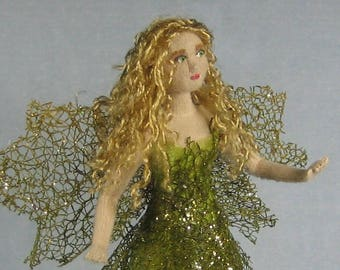 Green Fairy Soft Sculpture Miniature Doll by Marie W. Evans