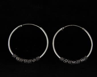 Sterling silver earrings.Silver 925 tribal hoops.Ethnic jewelry.Original design.Exclusive sterling silver earrings.Boho style.