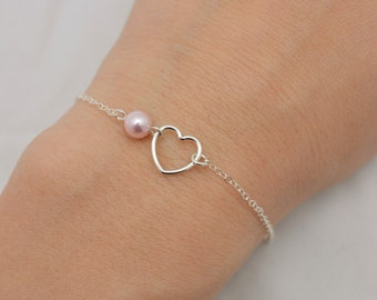 Pearl and Heart Bracelet, Open Heart Bracelet with Pearl, 925 Sterling Silver Heart Bracelet, Tiny Heart Bracelet, Gift for Her 0376