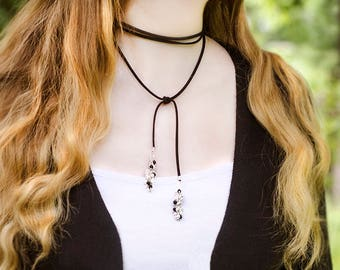 Suede Wrap Necklace Tassels Necklace Faux Leather Choker Necklace Boho Gift Idea for Womens Choker Black Necklace Suede Wrap Choker Leather