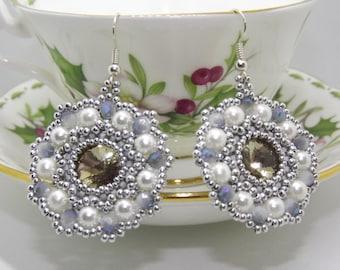 Beaded earrings, pearl earrings, pendant earrings, grey earrings, handmade earrings, elegant earrings, gift for her