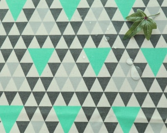 "Laminated Cotton Fabric by the yard Triangle pattern_ Green, Pink, Blue_43.3"" wide  NA 2"