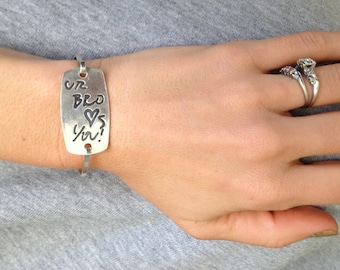 Your Handwriting - Large Silver Curved rectangle Tension Bracelet- Watch View -Made to Order