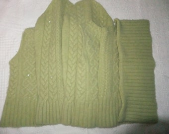 Felted Lambswool Angora Nylon Blend Sweater Remnants Green Cable Sparkly