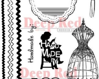 Deep Red Rubber Cling Stamp Sewing Handmade by Kit Trim Scissors Form