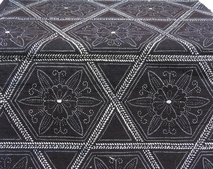 Japanese Katazome Cotton. Boro Textile. Natural Indigo Stencil Dyed Folk Fabric (Ref: 850)