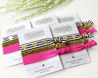 Black and Pink Bridal Shower Favors, Unique Party Favors for Women, Bridal Shower Decorations Pink and Gold, Bachelorette Hair Ties