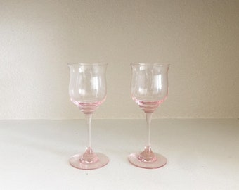 Set of 2 Pink Crystal Glass Stemware - Crystal Pink Glasses - Pink Wine Glasses - Pink Champagne Glasses - Vintage Pink Glass - Pink Crystal
