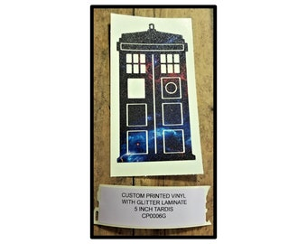 Dr Who Tardis, Dr Who Decal, Dr Who Sticker, Custom Printed Designs, Glitter Laminate, TARDIS, Time and Relative Dimension in Space, Pre-Cut