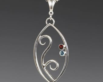 Mother's / Grandmother's Necklace. 2 Birthstones. Filigree Pendant. Sterling Silver. Lab-Created Gemstones.
