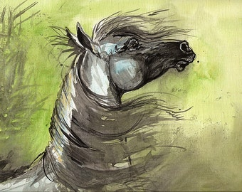 Arabian horse original acrylic painting on paper