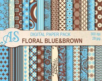 Digital Floral Blue and Brown Paper Pack, 28 printable Digital Scrapbooking papers, Digital Collage, clip art, Instant Download, set 316