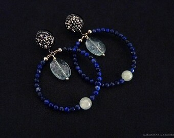 Round Earrings Aquamarine Earrings