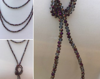 Superbe sautoir scintillant, améthyste perles collier, collier de pierres précieuses Long, collier fait main, collier créateur de pierres précieuses, K brun
