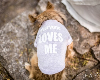 "Dog Clothing-""Everyone Loves Me"" Pale Lilac Baseball Tee"