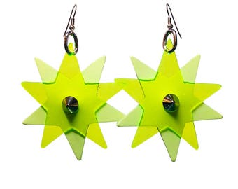 Star Bright Earrings - Yellow PVC and Glow in the Dark Leather Star Shaped Earrings -  Party Earrings with Silver Earring Fish Hooks
