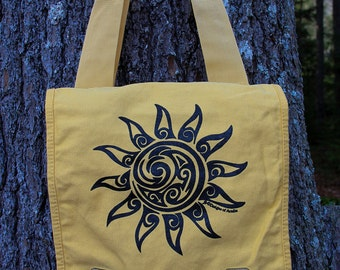 Sun Tribal Tattoo Messenger Field Bag -  Screen Printed Original Design