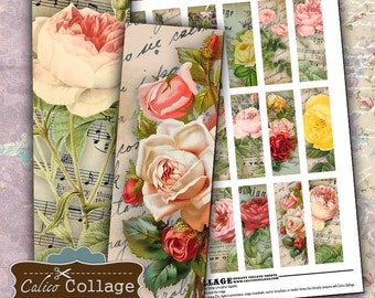 Printable, Bella Roses, 1x3 Images, Digital, Collage Sheet, Microslide Images, Instant Download, 1x3 Collage Sheet, Printable Paper, Vintage