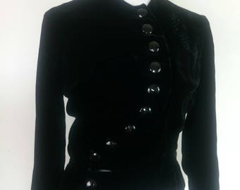 Vintage 1950s jacket/jet black velvet/ nipped waist 50s jacket with curving asymmetric button closure