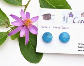 24 Fused glass earrings, milky blue
