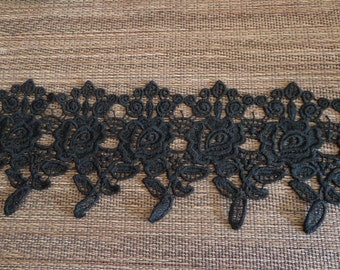 """Gorgeous 4"""" Wide Rayon Venise Lace Trim in Black (1 yd)"""