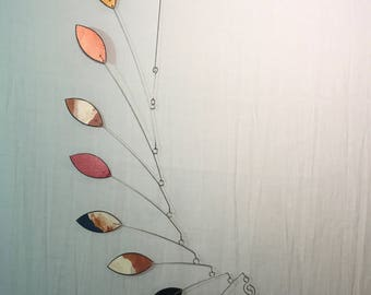 Hanging Mobile Art - READY TO SHIP - Hand Painted Leaf Wave Mobile in Salmon Gold Black and Copper