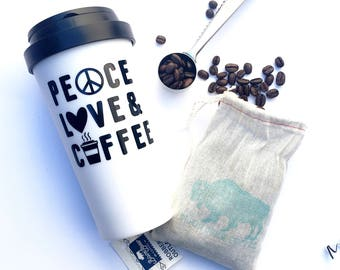 Coffee gift set, peace love & coffee, coffee mug, coffee, coffee scoop, gifts for him, valentines day gift for him, coffee lover gift,