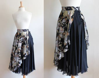 1970s Skirt / Vintage Black & Metallic Chiffon Disco Skirt